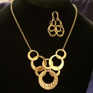 14k Solid Gold Circle Necklace & Earrings
